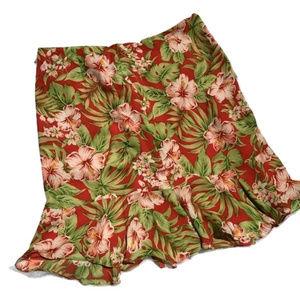 100% Silk Hawaiian Floral Skirt Lightweight Peplum